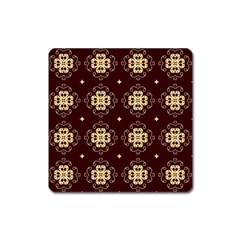 Seamless Ornament Symmetry Lines Square Magnet
