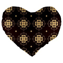 Seamless Ornament Symmetry Lines Large 19  Premium Heart Shape Cushions