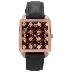 Seamless Ornament Symmetry Lines Rose Gold Leather Watch