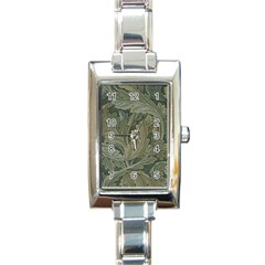 Vintage Background Green Leaves Rectangle Italian Charm Watch