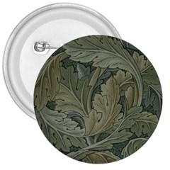 Vintage Background Green Leaves 3  Buttons