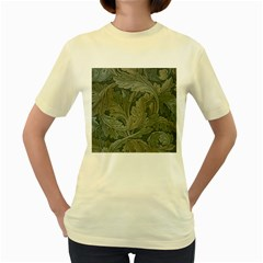 Vintage Background Green Leaves Women s Yellow T-Shirt