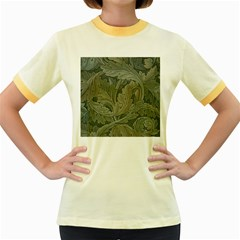 Vintage Background Green Leaves Women s Fitted Ringer T-Shirts