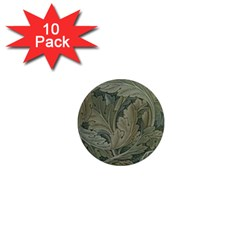 Vintage Background Green Leaves 1  Mini Magnet (10 pack)