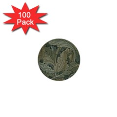 Vintage Background Green Leaves 1  Mini Buttons (100 pack)