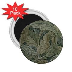 Vintage Background Green Leaves 2.25  Magnets (10 pack)