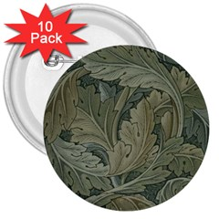 Vintage Background Green Leaves 3  Buttons (10 pack)