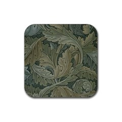Vintage Background Green Leaves Rubber Square Coaster (4 Pack)