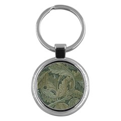 Vintage Background Green Leaves Key Chains (Round)