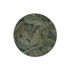 Vintage Background Green Leaves Rubber Coaster (round)