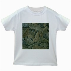 Vintage Background Green Leaves Kids White T-Shirts