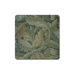 Vintage Background Green Leaves Square Magnet