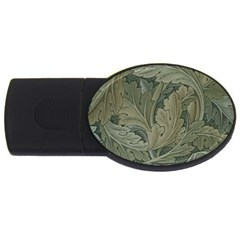 Vintage Background Green Leaves USB Flash Drive Oval (2 GB)