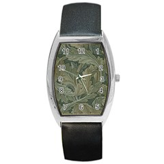 Vintage Background Green Leaves Barrel Style Metal Watch