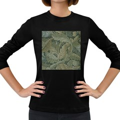 Vintage Background Green Leaves Women s Long Sleeve Dark T-Shirts