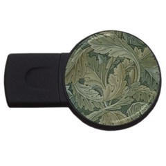 Vintage Background Green Leaves Usb Flash Drive Round (4 Gb)
