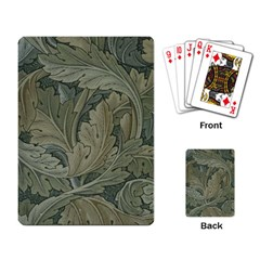 Vintage Background Green Leaves Playing Card