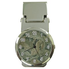 Vintage Background Green Leaves Money Clip Watches