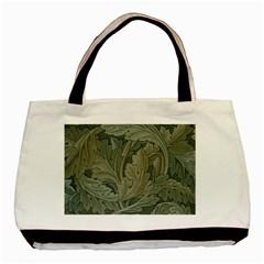 Vintage Background Green Leaves Basic Tote Bag