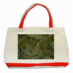 Vintage Background Green Leaves Classic Tote Bag (red)