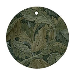 Vintage Background Green Leaves Round Ornament (Two Sides)