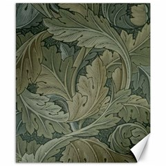 Vintage Background Green Leaves Canvas 8  x 10