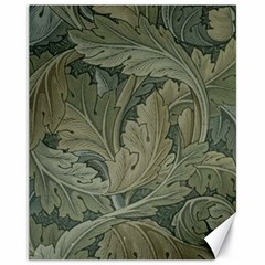Vintage Background Green Leaves Canvas 11  X 14