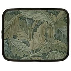 Vintage Background Green Leaves Netbook Case (large)