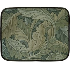 Vintage Background Green Leaves Double Sided Fleece Blanket (Mini)
