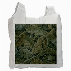 Vintage Background Green Leaves Recycle Bag (one Side)