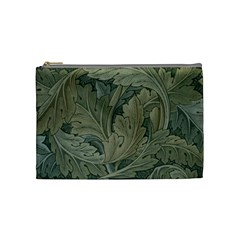Vintage Background Green Leaves Cosmetic Bag (medium)