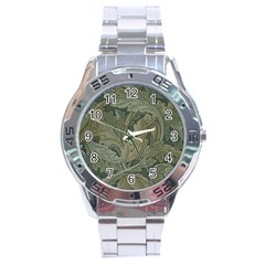 Vintage Background Green Leaves Stainless Steel Analogue Watch