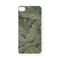 Vintage Background Green Leaves Apple iPhone 4 Case (White)