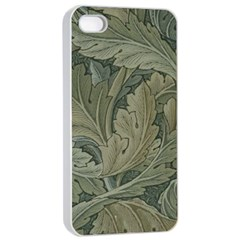 Vintage Background Green Leaves Apple iPhone 4/4s Seamless Case (White)