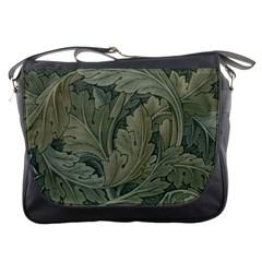Vintage Background Green Leaves Messenger Bags