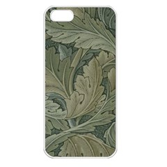 Vintage Background Green Leaves Apple iPhone 5 Seamless Case (White)