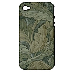Vintage Background Green Leaves Apple iPhone 4/4S Hardshell Case (PC+Silicone)