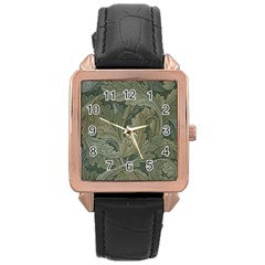 Vintage Background Green Leaves Rose Gold Leather Watch