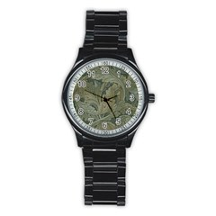 Vintage Background Green Leaves Stainless Steel Round Watch