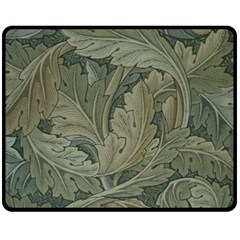 Vintage Background Green Leaves Double Sided Fleece Blanket (Medium)