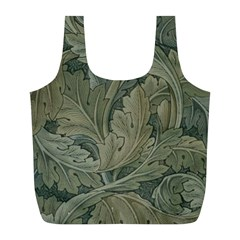 Vintage Background Green Leaves Full Print Recycle Bags (L)