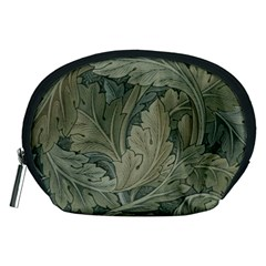 Vintage Background Green Leaves Accessory Pouches (medium)