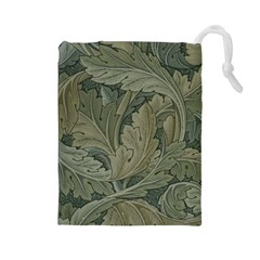 Vintage Background Green Leaves Drawstring Pouches (Large)