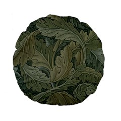 Vintage Background Green Leaves Standard 15  Premium Flano Round Cushions