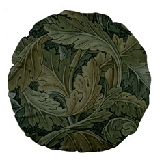 Vintage Background Green Leaves Large 18  Premium Flano Round Cushions