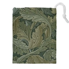 Vintage Background Green Leaves Drawstring Pouches (xxl)