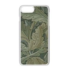Vintage Background Green Leaves Apple Iphone 7 Plus White Seamless Case