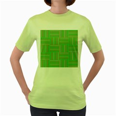 Geometric Pinstripes Shapes Hues Women s Green T Shirt