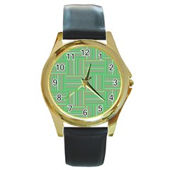 Geometric Pinstripes Shapes Hues Round Gold Metal Watch