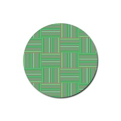 Geometric Pinstripes Shapes Hues Rubber Round Coaster (4 pack)